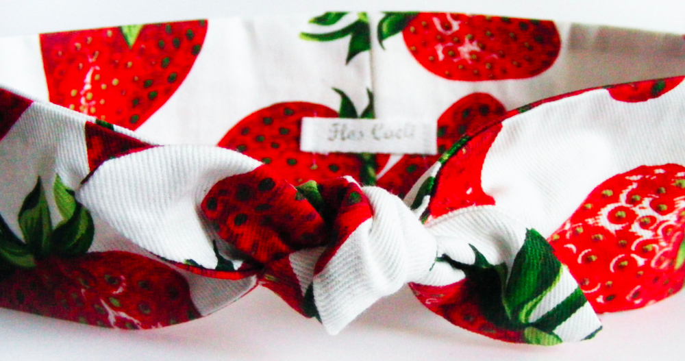 FlosCaeli on Etsy Strawberry Cotton Headband, $13-