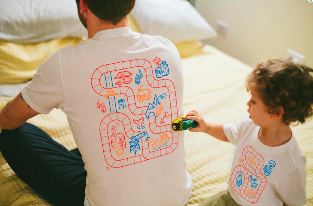 bkykid on etsy father son matching train tee shirts, $39- (for the pair)