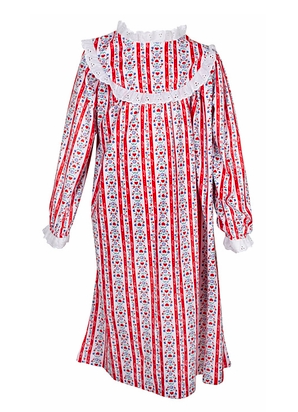 Lanz of Salzburg Girls Tyrolean Hearts + Stripes Nightgown in Red, $38-