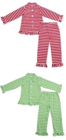 TwoLovesBlue on Etsy Striped Christmas Pajamas, $15-