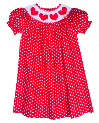 This and That for Kids Hand Smocked Red Hearts Valentine Bishop Dress, $39.99-