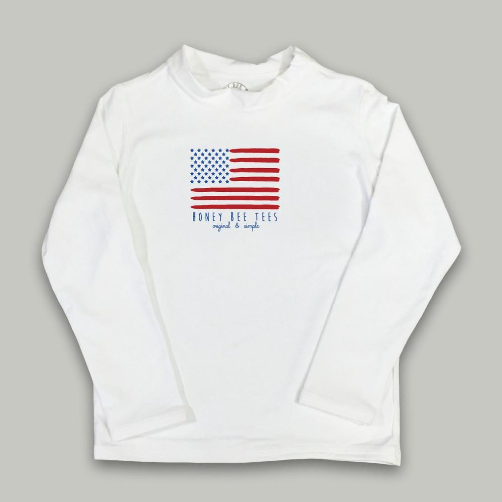 Honey Bee Tees Flag Long Sleeve Rash Guard UPF 50, $30.50-.jpg