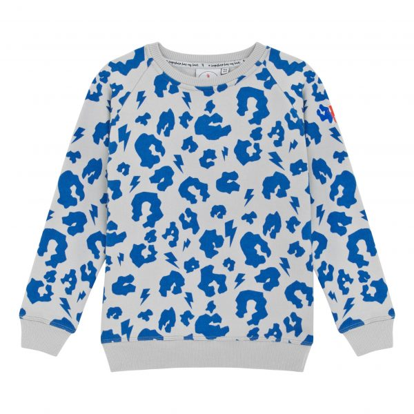 Scamp + Dude Grey with Electric Blue Leopard and Lightning Bolt Sweatshirt, $48-.jpg