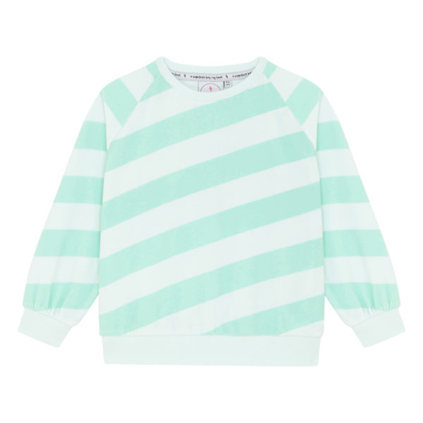 Scamp + Dude Sundowners Towelling Sweatshirt in Green Lucky Stripe, $53-.jpeg