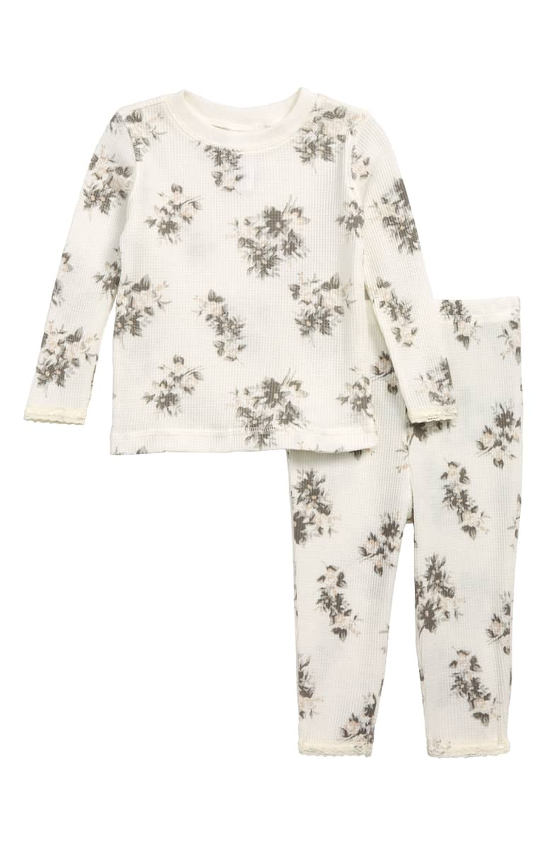 Something Navy Floral Fitted Thermal Two-Piece Pajamas, $.jpeg