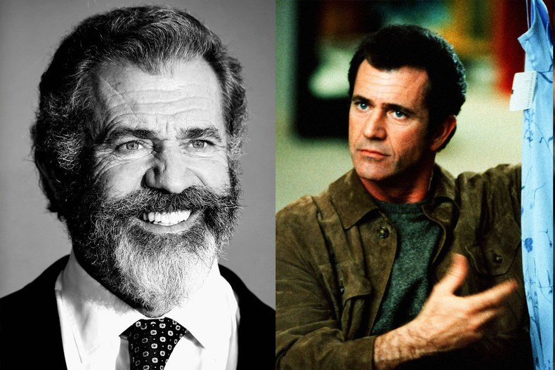 Left, Mel Gibson at the 22nd annual Critics' Choice Awards in 2016; Right, a scene from What Women Want, 2000. Left, by Frazer Harrison/Getty Images; Right, by Andrew Cooper/Paramount/Rex/Shutterstock.