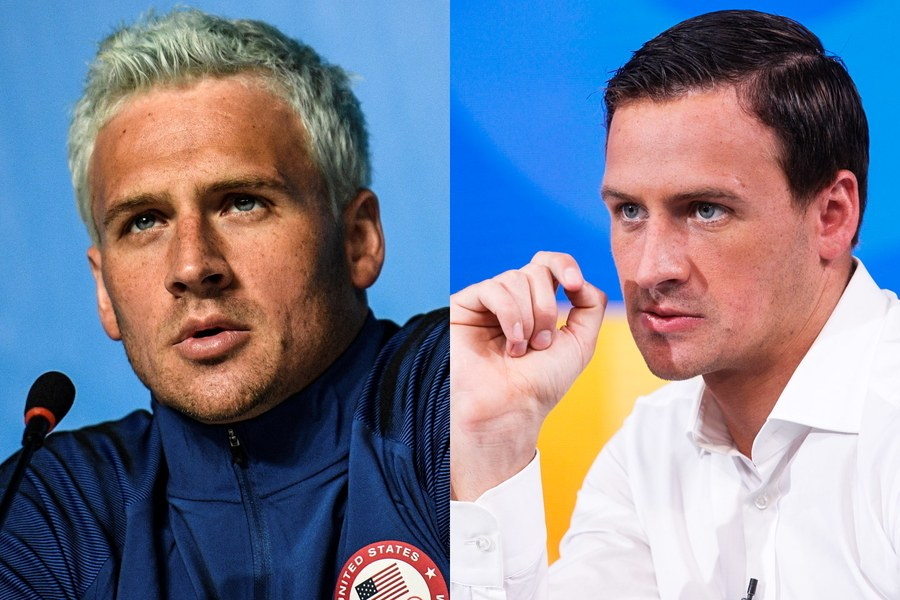 Left, Ryan Lochte at a press conference in Rio during the Olympic Games early in August; Right, Lochte filmed giving a formal apology on Good Morning America at the end of the same month. Left, by Martin Bureau/AFP, right, by Lou Rocco/ABC, both from Getty Images.