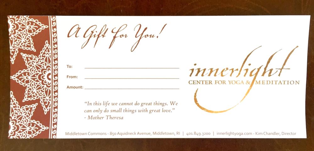 gift certificates innerlight