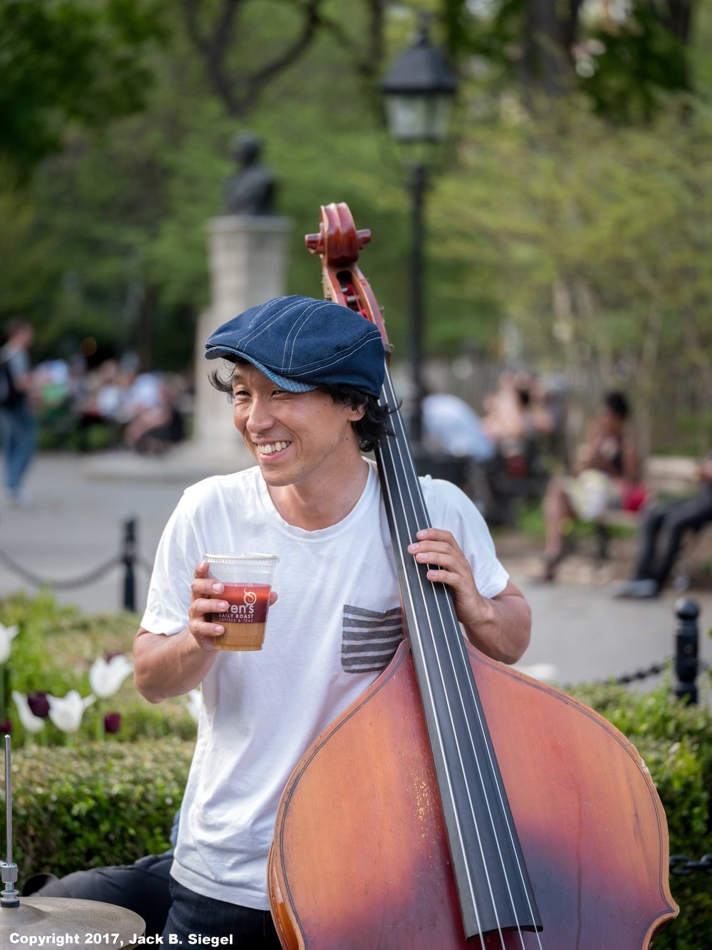 Ice Coffee and Bass in Washington Square Park