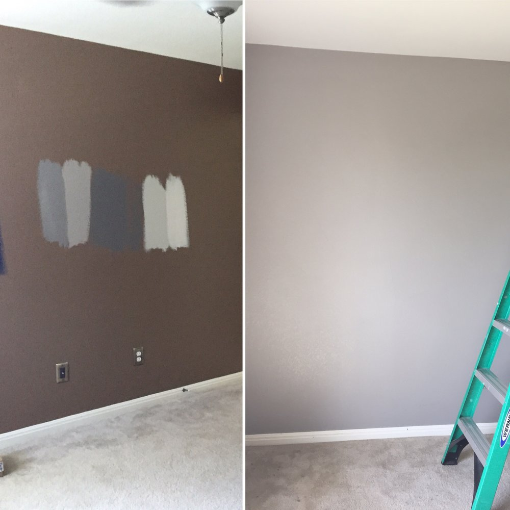 Aiden, my younger son's room.  Here it was brown before and we changed it to  SW Repose  for walls and ceiling is  SW Eider white
