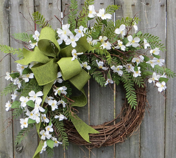 Dogwood fern and burlap wreath