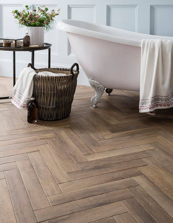 #2 Herringbone Floors - Herringbone peeked through in 2017 but its going to make a big impact this year. This textured floor will be the highlight for all rooms.Photo cred: pinterest, Alvinhomedecor..us