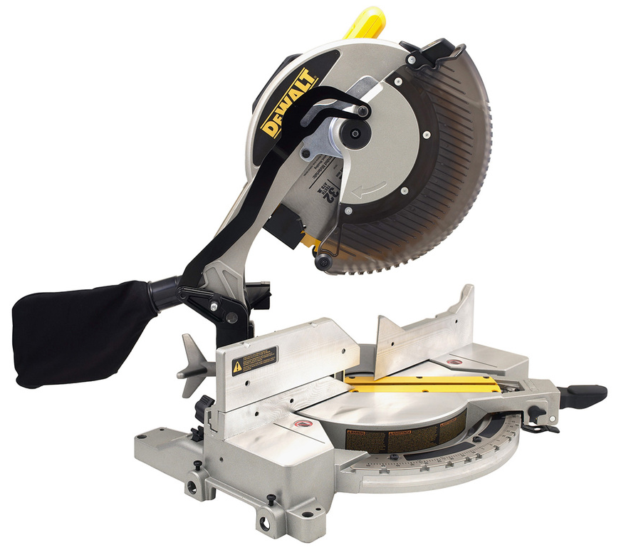 This  Dwalt 12inch 15amp Single Bevel Compound Miter Saw  allows the user to cut with the arm coming straight down. The only bad thing about it is, if you are cutting a 4x4 board you'll have to cut it twice. Once you come down to cut on the inside of the board you'll need to flip it over to cut on the outer side to finish the cut.