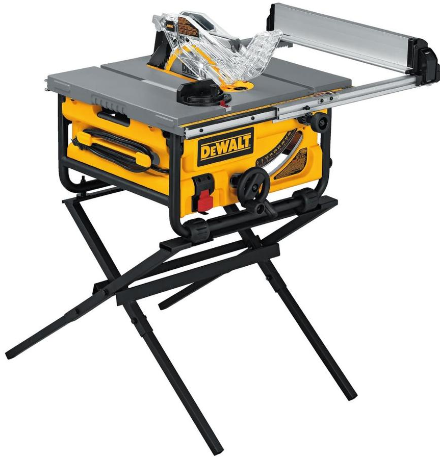 This  DEWALT 10-in Carbide-tipped 15-Amp Table Saw  comes with a stand. This stand allows for you to place on a table.