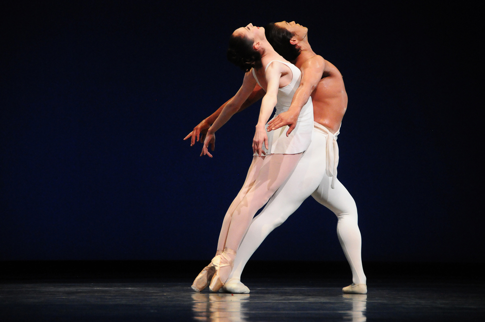 """Pacific Northwest Ballet Soloist Sarah Ricard Orza and principal dancer Batkhurel Bold perform as part of George Balanchine's """"Apollo."""" Along with PNB's """"Carmina Burana,"""" Balanchine's renowned piece has been performed by PNB since 1993. April 2012."""