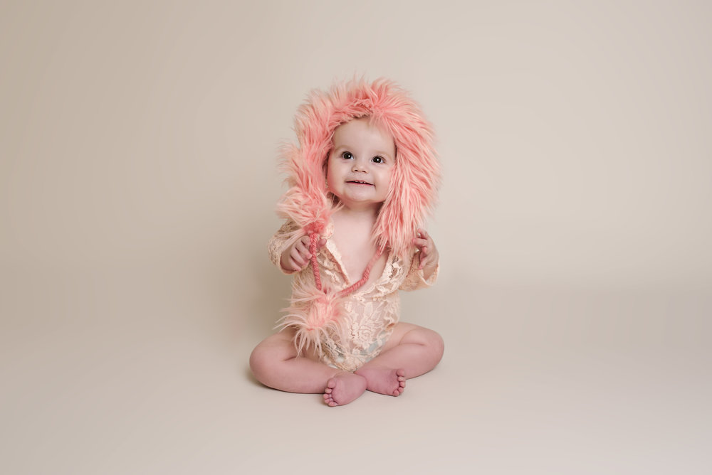 Peach Lace Fur Hooded Romper