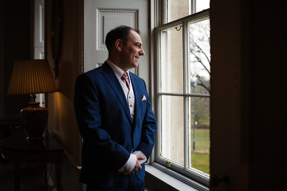 Groom portrait at botleys mansion