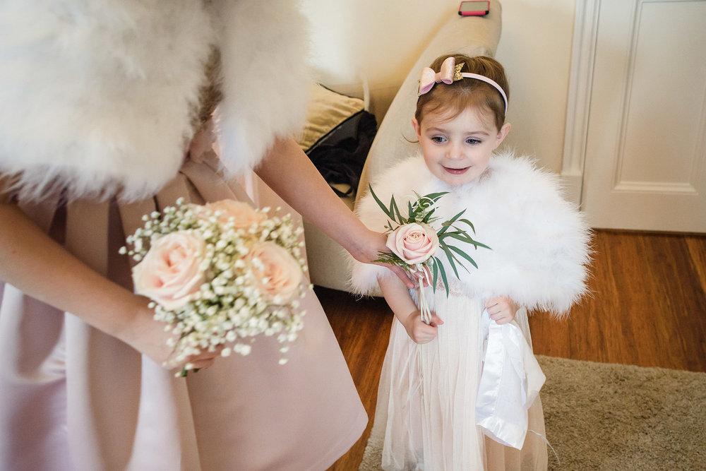 Flower girl wedding preparations at botleys mansion