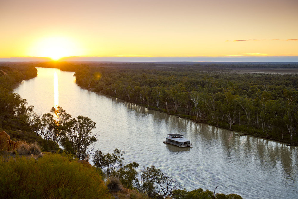 Sunset over the Murray River in South Australia