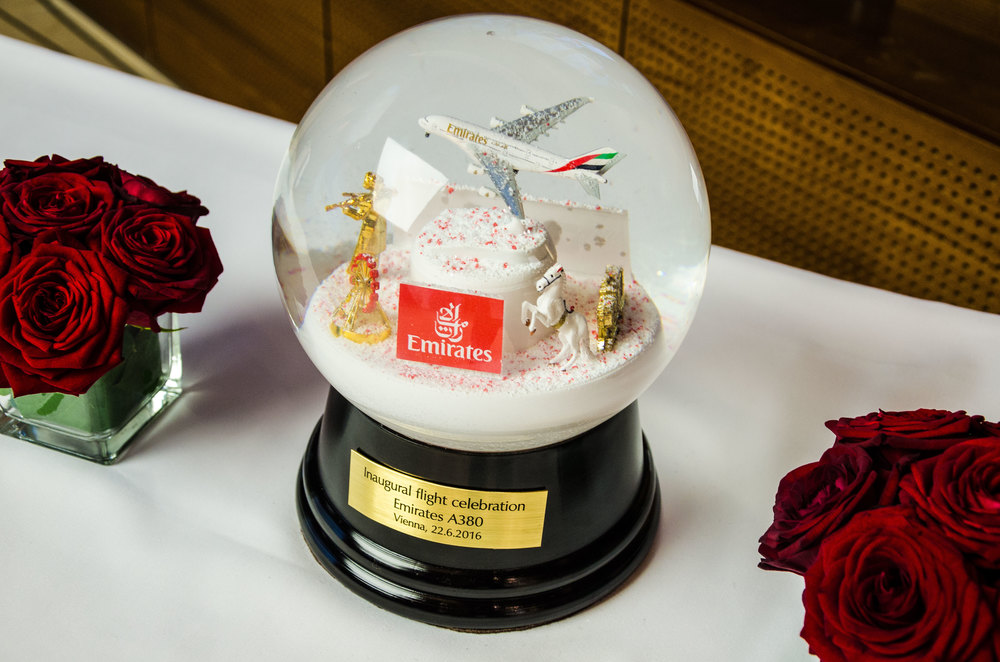A snowglobe (a Viennese invention!) was given to Emirates as a welcome gift.
