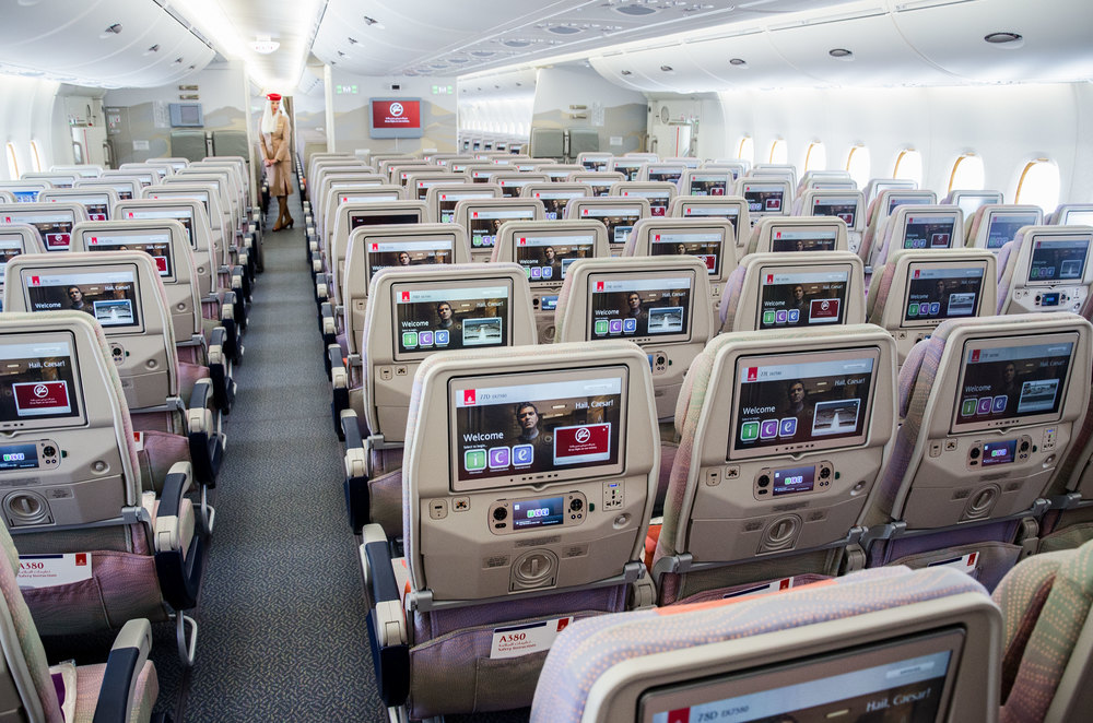 Emirates offers power outlets, USB-ports and HD screens at every seat