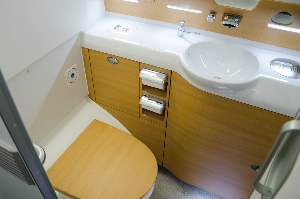 One of the restrooms for Economy Class