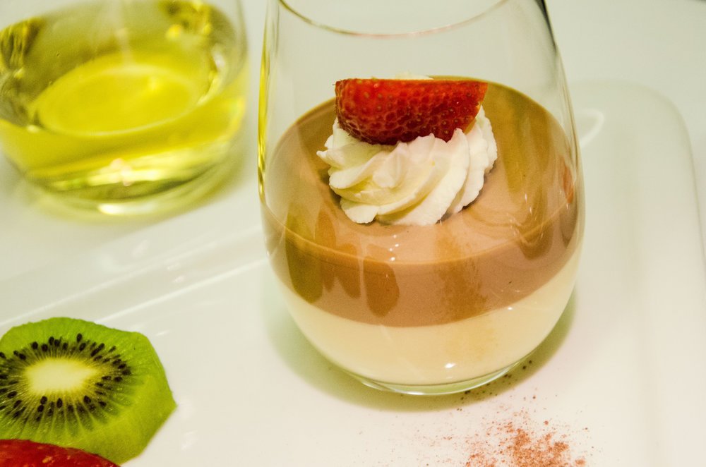 White and brown chocolate mousse