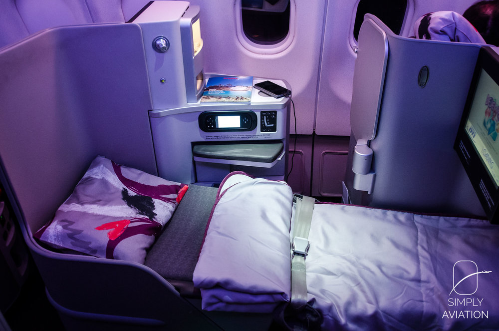 The seat turns into a full-flat bed automatically on Iberia's new intercontinental Business Class!