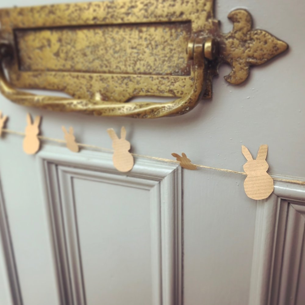 why not decorate your home with this easter bunny bunting craft?Its a great Fine Motor Skill activity to do at home with your little one, ESPECIALLY on an april showers day during half term