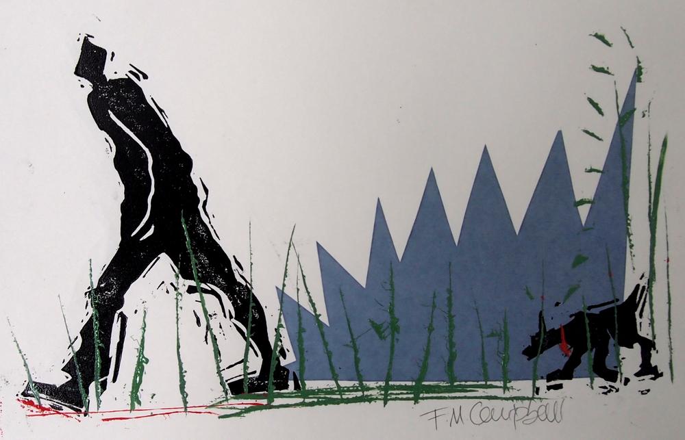 'Morning dog walk' - 32cm x 20cm