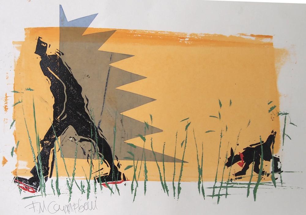 'Evening dog walk' - 33cm x 24cm