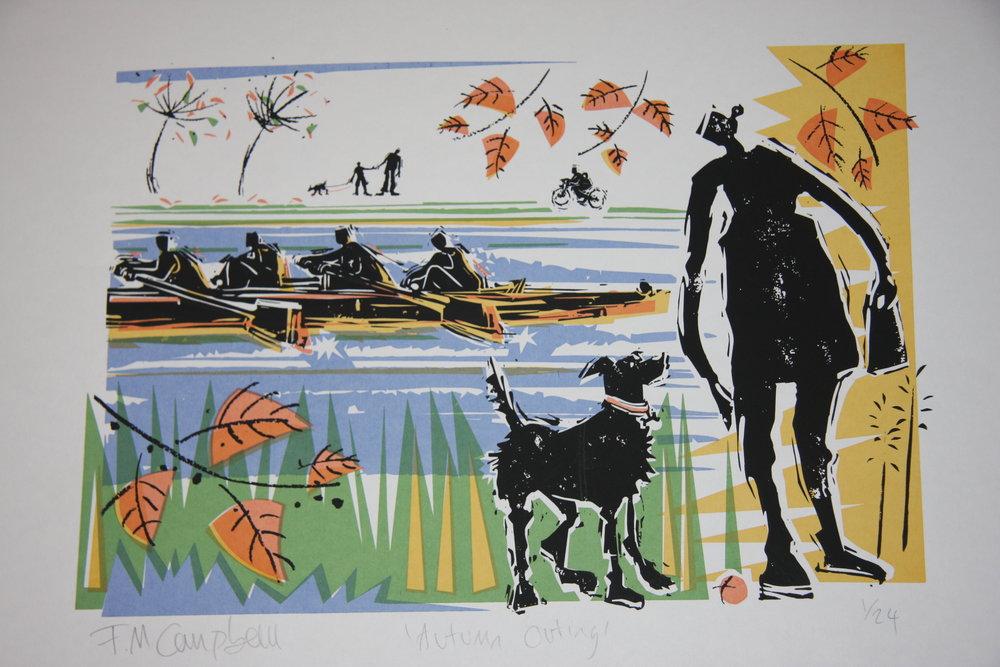 'Autumn Outing' 40cm x 30cm screenprint