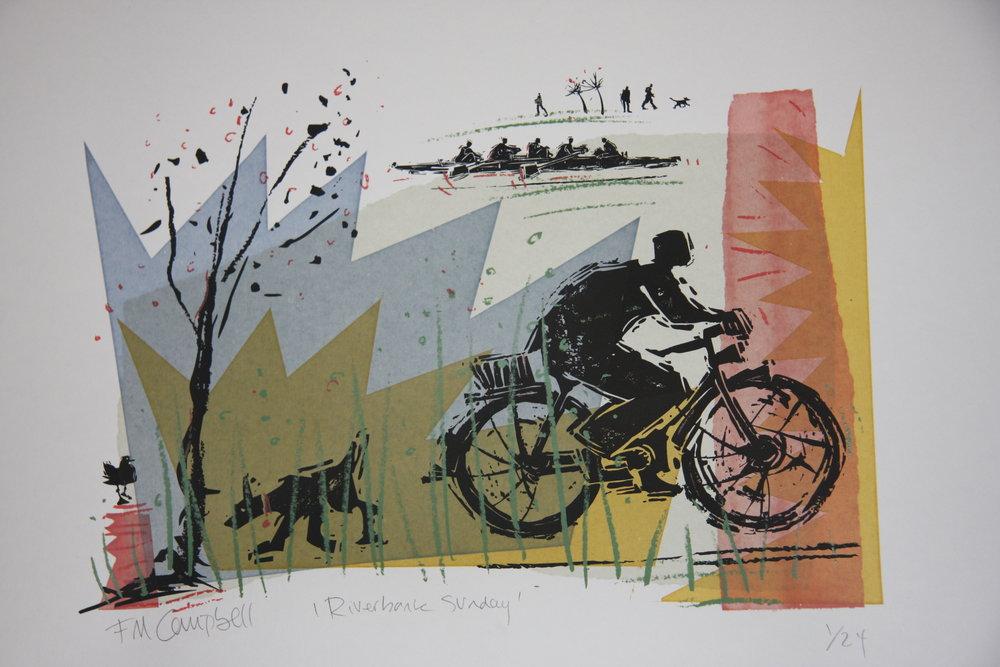 'Riverbank Sunday' 40cm x 30cm screenprint