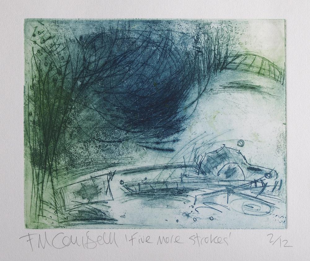 'Five more strokes' - 20cm x 15cm