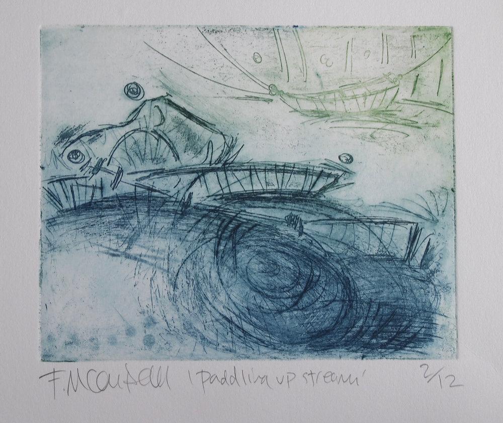 'Paddling Upstream'  - 20cm x 15cm