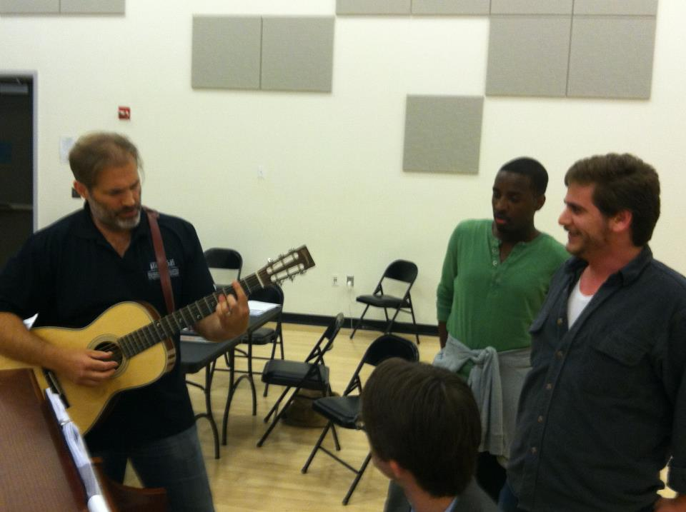 Marc Kudisch and Devin singing during Marc's rehearsal for Baritones Unbound.