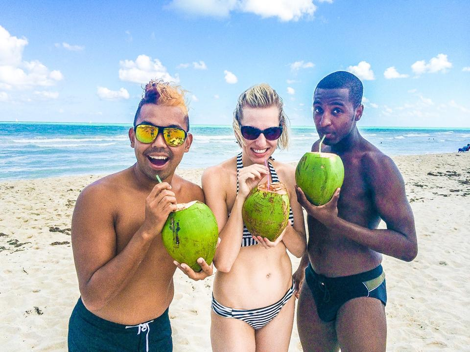 Devin and friends at the beach in Miami.