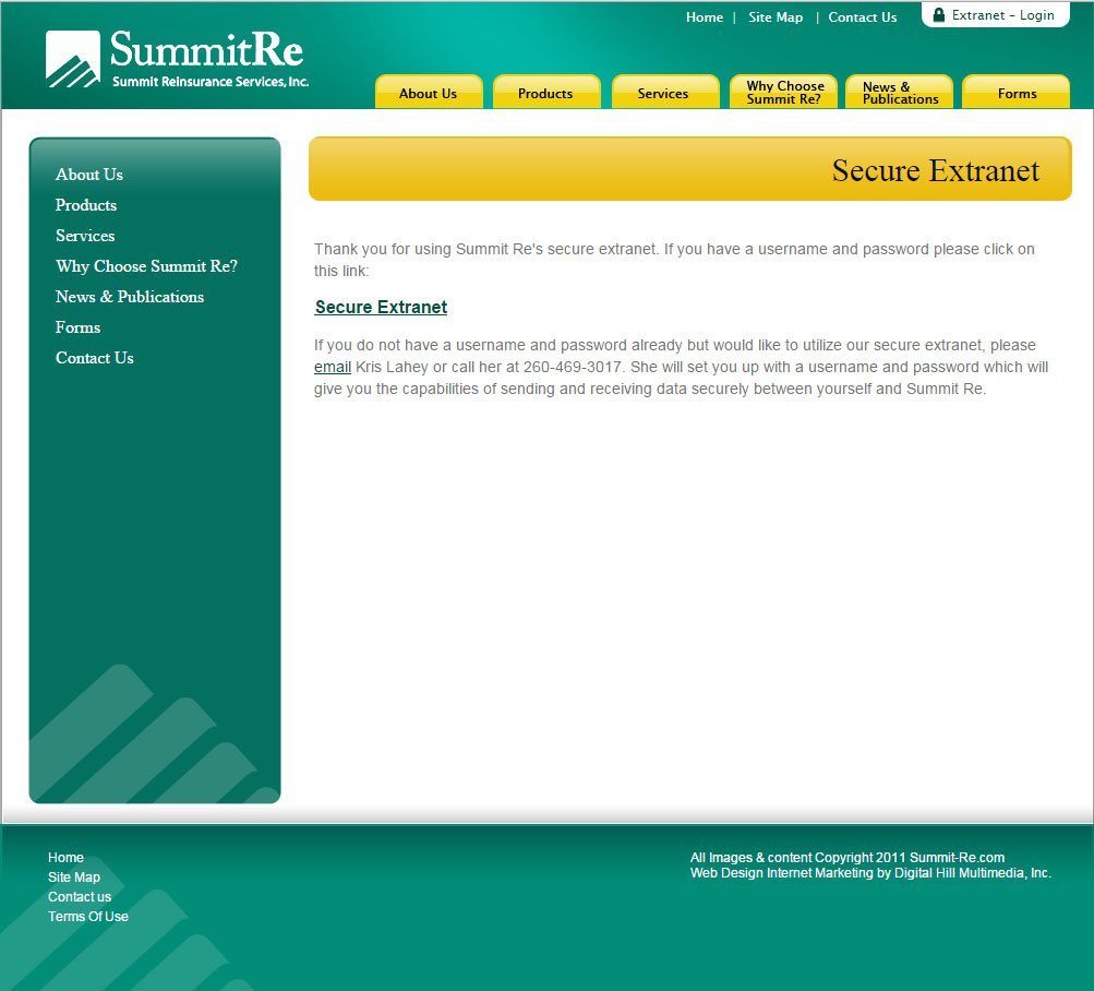 extranet screen shot