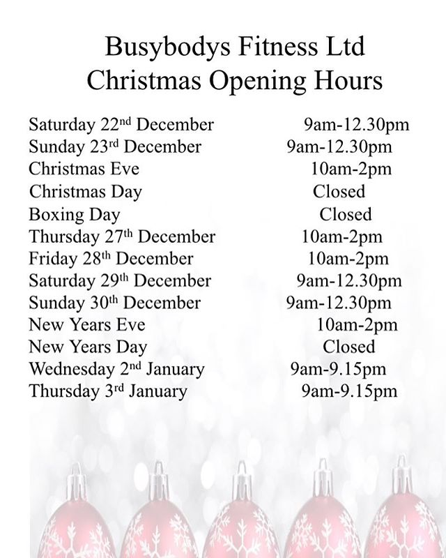 Christmas Opening Hours 👍🏻🎅🏼👍🏻