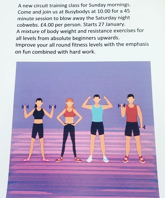 PAULS SUNDAY SERVICE A new Circuit Training Class starting next Sunday 27th at 10am £4 per person. No need to be a member just turn up and join in. Fun class for all abilities 👍🏻