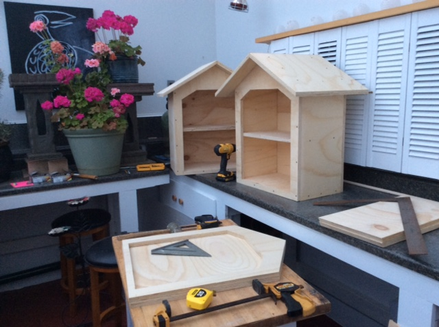The small wooden libraries being created by local artists Clare and Neil Driscoll.