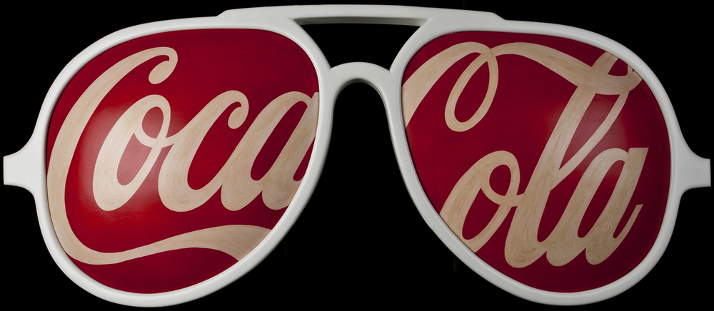 Coca Cola Glasses, 2005, 28 x 72 x 3 (Sold)