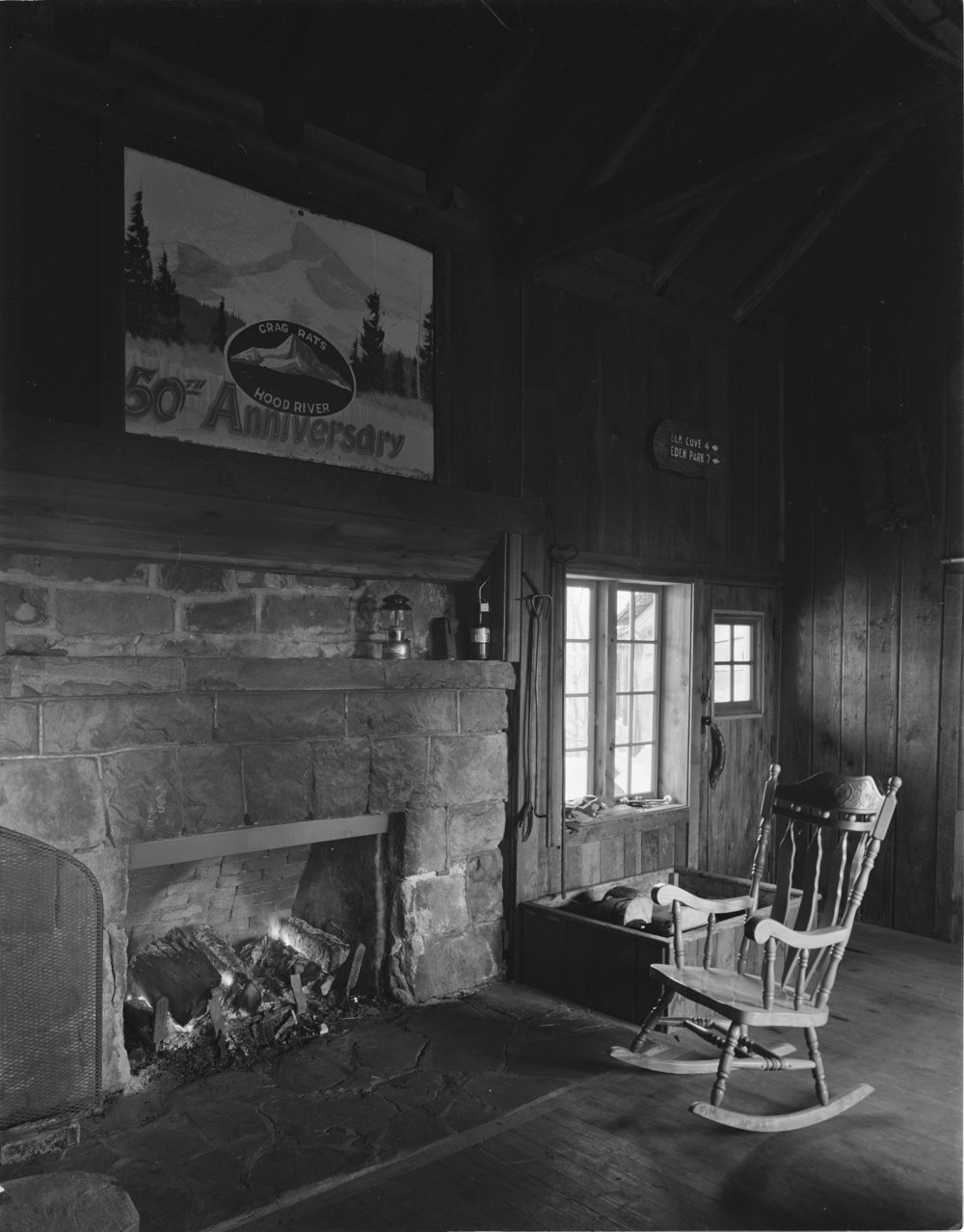 The original fireplace heats the inn with downed deadwood from previous area forest fires.
