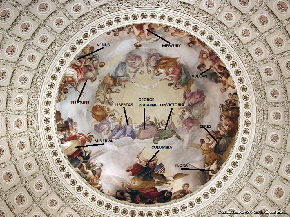 The Apotheosis of Washington, painted on the underside of the US Capital dome