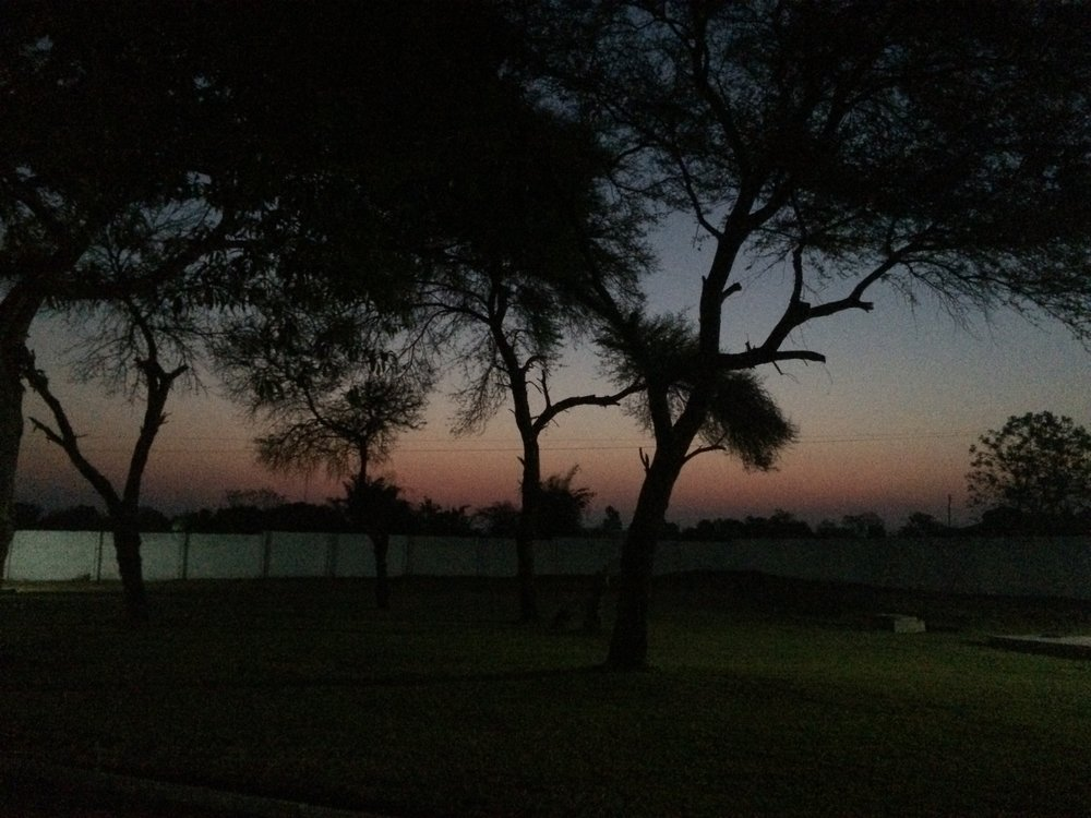 Sun setting behind the Zambia Council of Church compound in Lusaka.