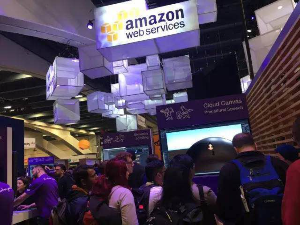 "Amazon's exhibition centered on ""Lumberyard"" as the topic, displaying a range of tools and services that serve developers"