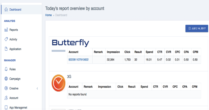 Butterfly user interface