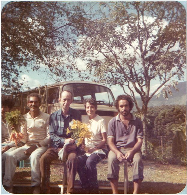 José Rocha, Paul Moras, Nair Moras e Gilmar. maio 1985.