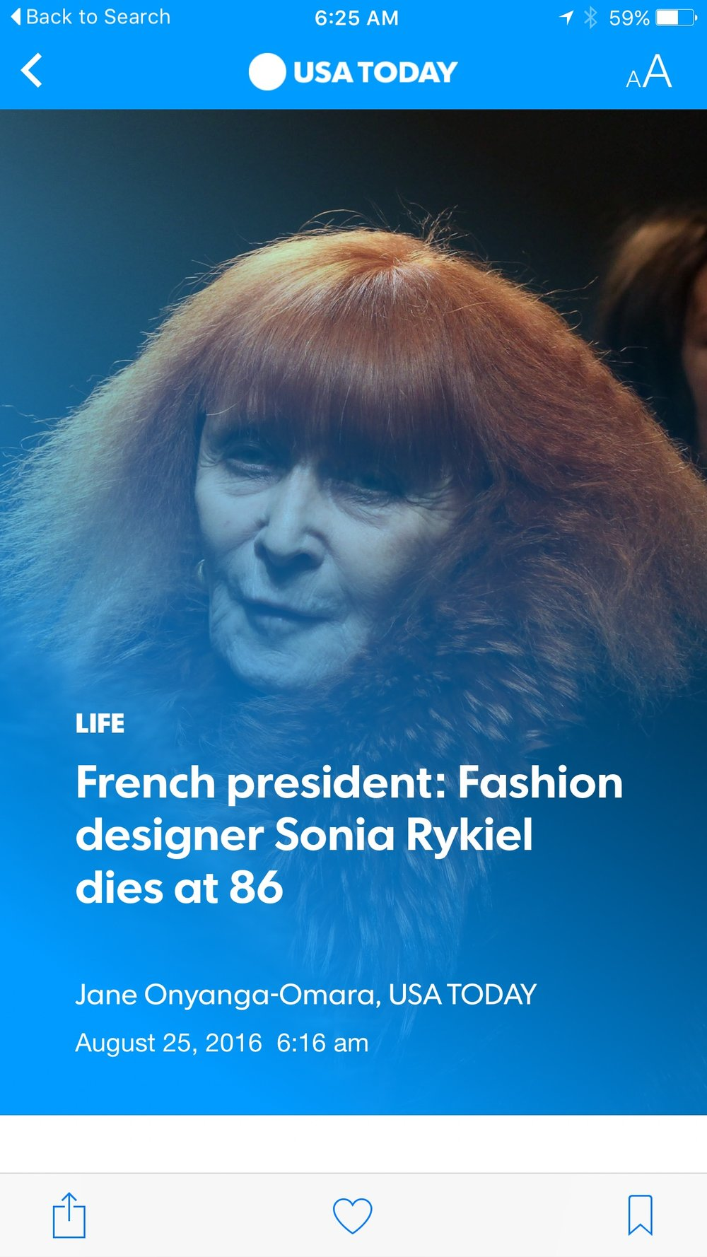 Sonia Rykiel courtesy of USA Today