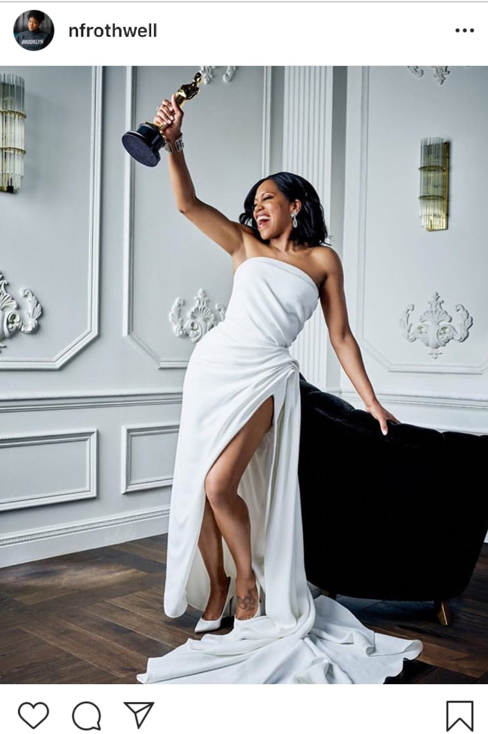Regina King with her Oscar win. Image courtesyt of Instagram @nfrothwell